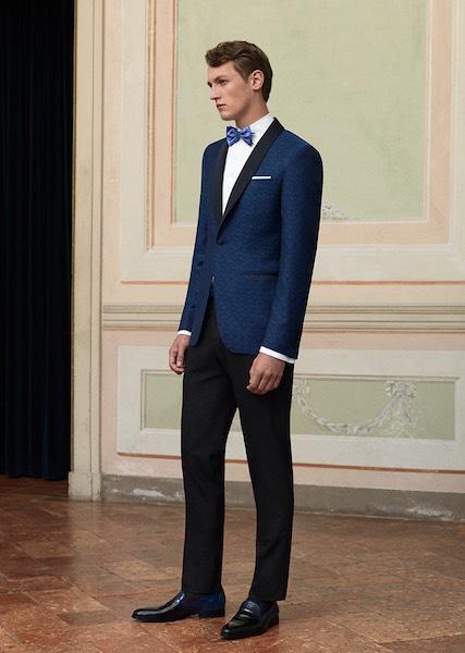 Abito Da Cerimonia Uomo Azzurro : Canali abito sposo elegante spezzato moda uomo