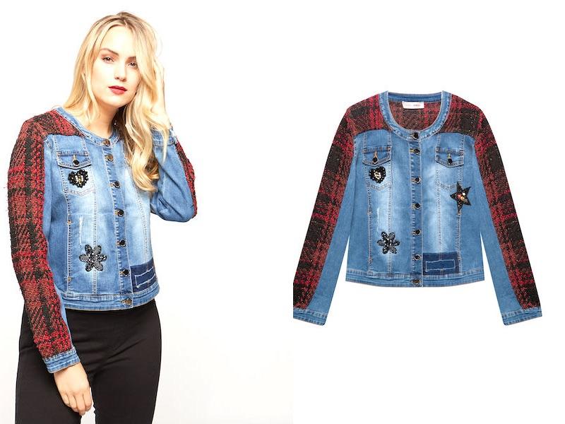 Giacca jeans fiorella rubino