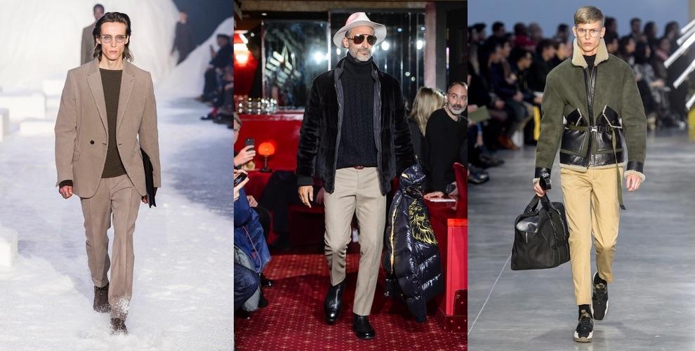 moda uomo inverno pantaloni beige abbinamenti